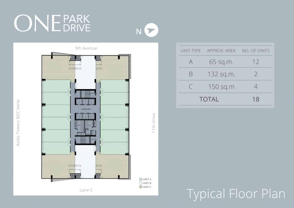 One park drive ayalaland communities for Typical office floor plan