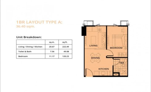 One-Bedroom Unit Approx. area 36 sq.m