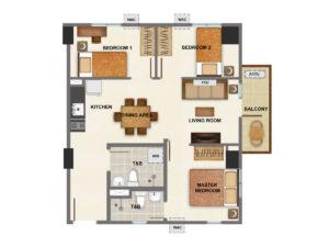 3 Bedroom - 61 sq.m