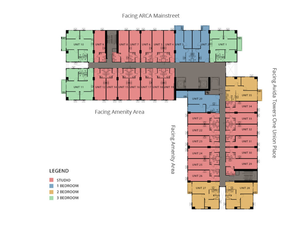 Tower 1 - 2nd to 6th Residential Typical Floor Plan